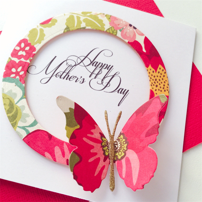 Hy Mother S Day Multi Coloured Fl Design With Erfly Handmade Card