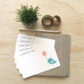 Notecard Pack - Turquoise Birdie - Set of 5 Notecards and Envelopes - NOT030