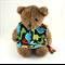 Baby Dribble Feeder Bib Dinosaur Cotton Fabric, Bamboo Toweling, Snap Fastened.