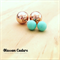 Mint and Rose Gold Double Ball Earrings