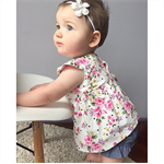 Pretty white polka bouquet floral peplum top, baby, girl, toddler