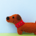 Felt Dog Brooch - Dachshund Dog - Magnet