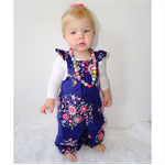 Memento navy floral ruffled overalls, baby, girl, toddler
