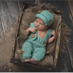 SALE Baby Boy Overalls & Newsboy Set / Newborn Photography Prop / Green