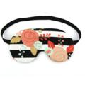 Black and White Stripe Floral Sleeping Eye Mask