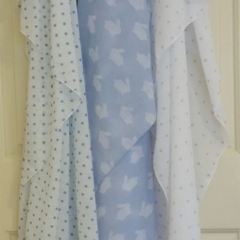 Muslin wrap / shawl /  swaddle  / receiving blanket, pack of three. Baby Boy.