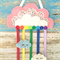 Cloud, rainbow, hair clips holder, felt, pink, organiser, flowers