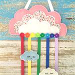 Cloud, rainbow, hair clips holder, felt, pink, organiser, flowers