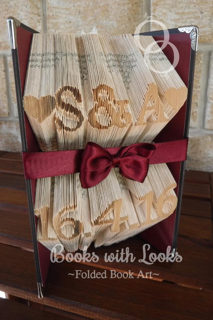 Book Art Wedding Gift : Book Art SculptureIdeal Wedding GiftInitials and Date Books ...