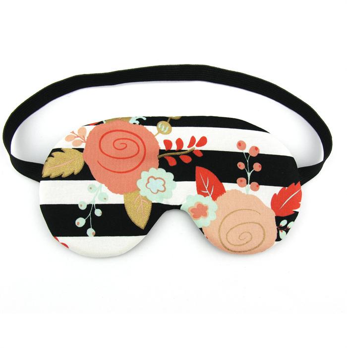 7fb836940 Black and White Stripe Floral Sleeping Eye Mask