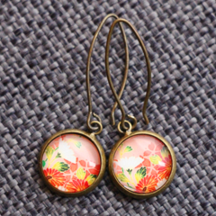 Oriental Bloom  ~  Antique Bronze Drop Earrings