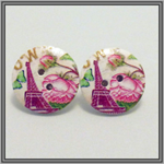Earrings Wooden Buttons Studs Pink Eiffel Tower