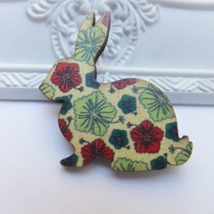 Yellow Red and Green Hibiscus Vintage Floral Wooden Rabbit Brooch