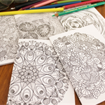 5 Colour-Me-In cards. MANDALAS.