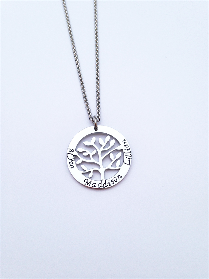 Personalised hand stamped family tree of life name family pendant personalised hand stamped family tree of life name family pendant necklace aloadofball Gallery