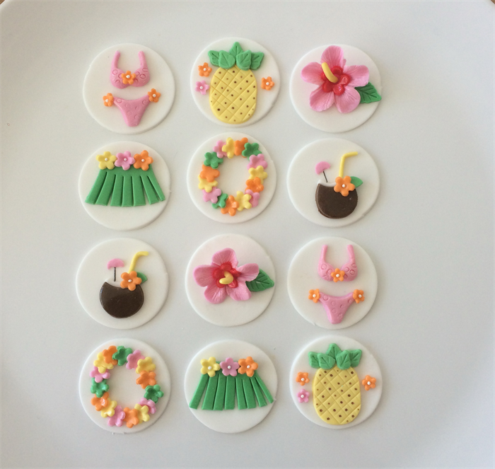 Hawaii Luau Party Themed Cupcake Toppers