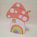 Handmade Wooden PASTEL Toadstool House with Rainbow Door. (10 Piece)