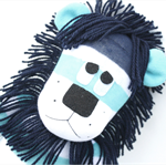 'Lincoln' the Sock Lion - aqua and white stripes - *READY TO POST*