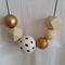 Gold, Wood and Hand Painted Mix - Black Ball Chain
