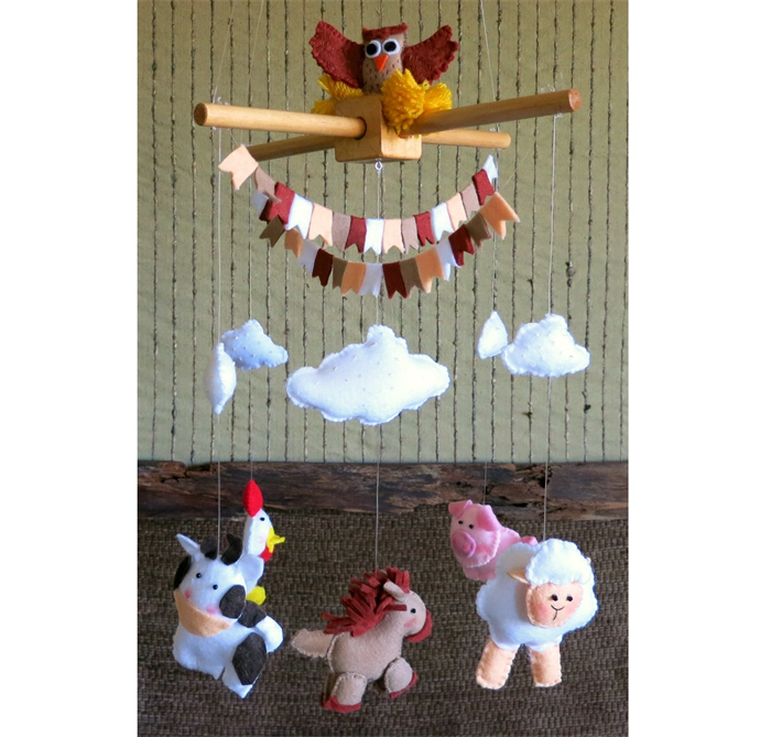 Baby Nursery Mobiles Farm Animals Gift Crib Mobile Babies Decor Gifts