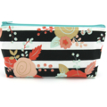 Black and White Stripe Floral Cosmetic Bag, Zip Pouch, Makeup Bag