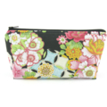 Black Oriental Flower Cosmetic Bag, Zip Pouch, Makeup Bag