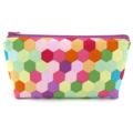 Bright Hexagon Cosmetic Bag, Zip Pouch, Makeup Bag