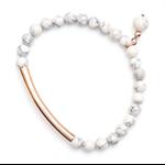 Rose gold tube white stone bracelet