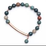 Rose Gold tube Autumn bead bracelet
