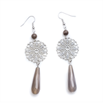 Grey agate filigree earrimgs