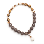Boho grey Jade and tan bead copper bracelet