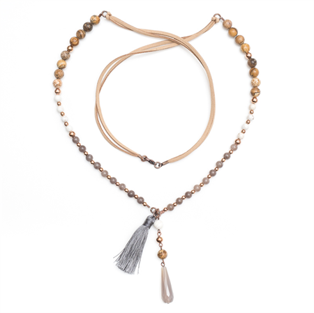 Boho Grey and copper bead mix suede necklace