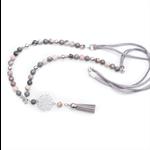 Grey Zebra Jasper tassel bead necklace