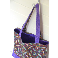 Mini Tote Bag - Purple Paisley - Totally Reversible