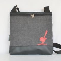 Large 'Georgia' bag, black vinyl and grey upholstery fabric featuring small bird