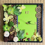 Modern Wall Clock, Elephant Wall Art With Wooden Bambo, Artificial Butterfly