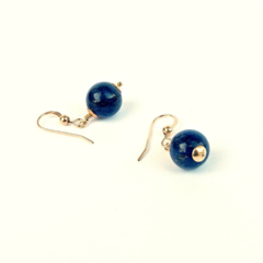 Deep Blue Lapis Lazuli and Gold Gemstone Earrings