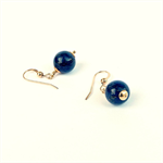 Deep Blue Lapis Lazuli and Gold Gemstone Earrings