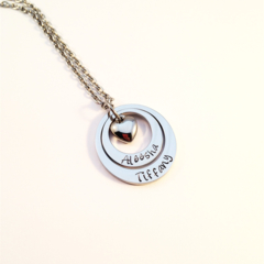 Personalised Hand Stamped Double Love Heart Family Pendant