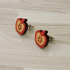 Red Apple Wooden Earring Stud