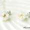 Dry Flower Glass Ball Earrings - White and Pearls