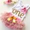 Baby Girls 1st Birthday  Singlet, headband and ruffle bloomers. Gold glitter One