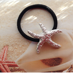 Starfish Silver Plated Black Nylon Stretch Ponytail Hair Band Beach Wear