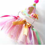 Fluffy Princess Tulle Birthday Tutu and Party Hat for Parties Photo Shoots