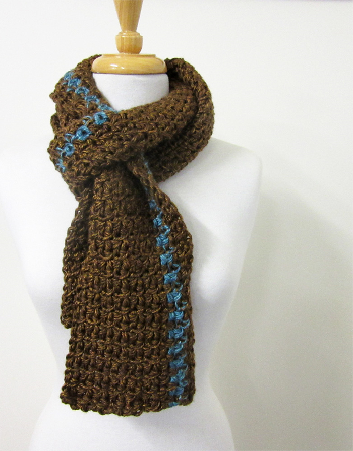 Mens Brown Knit Scarf Leather And Turquoise Hand Crochet Winter