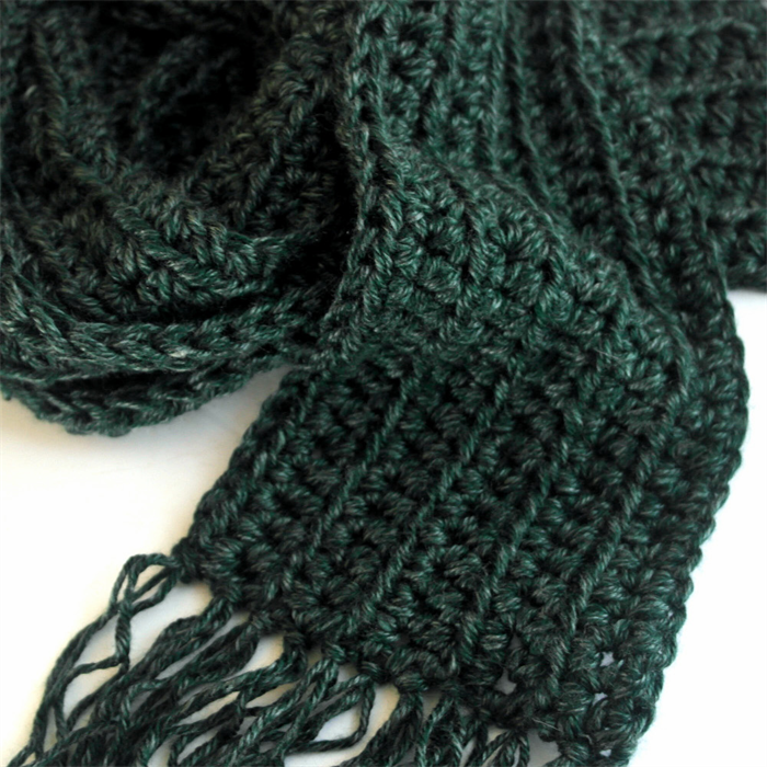 Long Green Winter Scarf Knit Scarf With Fringe Unisex Mens Scarf