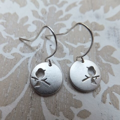 Rhodium Bird Pendant Earrings