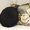 Black Linen Vintage Style  round cushion-FREE POST