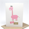 Baby Shower Card - Girl - Pink and Brown Giraffe - BBYSHW016