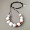 Howlite Gemstone & Rose Gold Ceramic Necklace